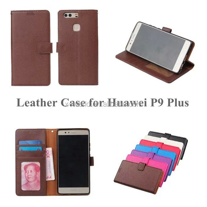 New Product PU Leather Classic Book Folio Case for Huawei P9 Plus with Card Slot and Stand