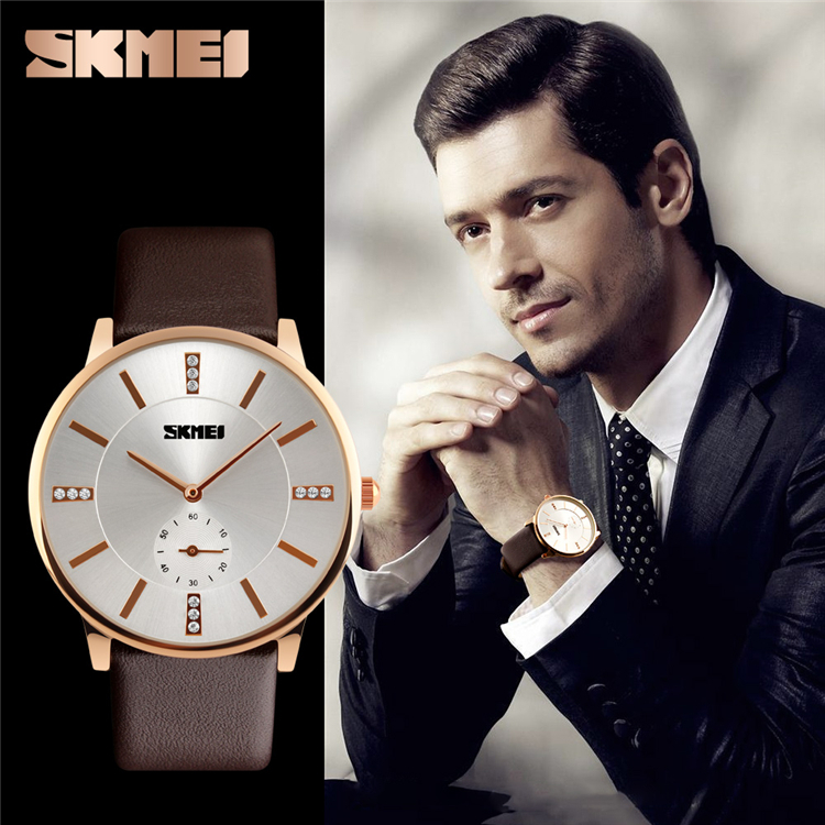 Korea Stylish Japan Quartz Movement Stainless Steel Back Business Mens Watches