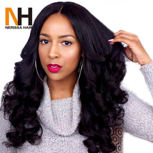 26 Inch Virgin Indian Human Women Hair Raw Unprocessed Loose Wave Lace Front Wig For Asian Women