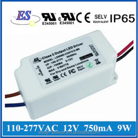 120Vac to 12Vdc 750mA 9W constant current dimmable led driver power supply with Triac dimming,UL CUL CE approval