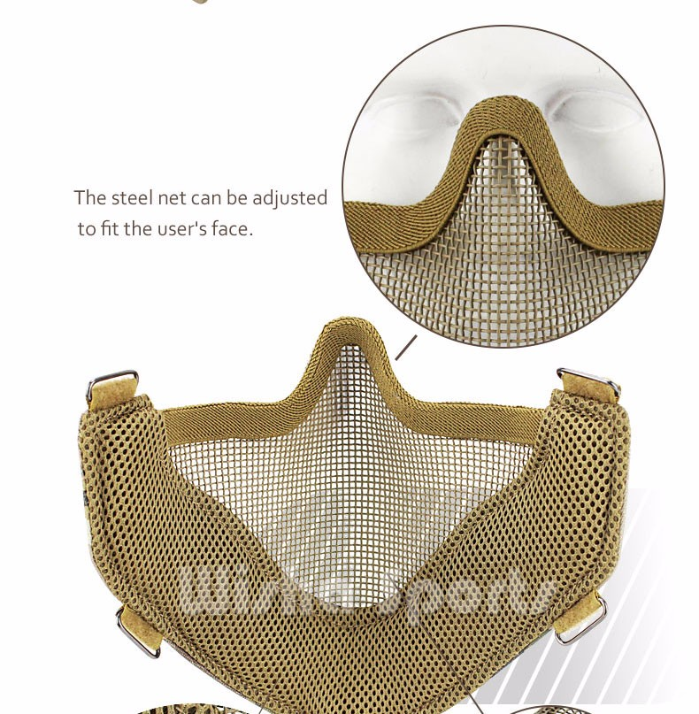 Lightweight Half Face Lower Metal Steel Tactical Paintball Mask