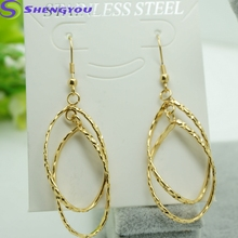 Wholesale 18K Gold Plated Women's Earring With 2 Rain Drop Shaped Pendants Simple Long Earrings Earring Hooks