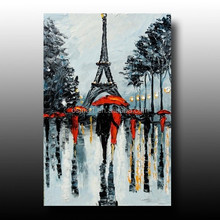 canvas painting lover hold umbrella under Eiffel knife streetscapeoil painting wall sticker wall pictures for living room