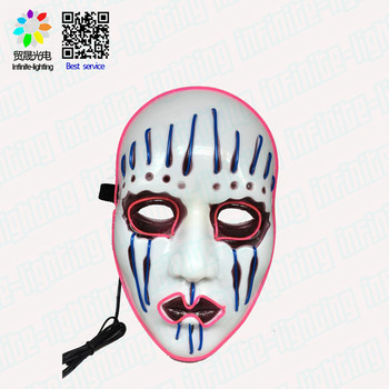 Frightening Luminous EL Wire Led Mask Halloween Light Up Cosplay Mask