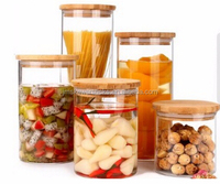 food glass storage jar with wood lid