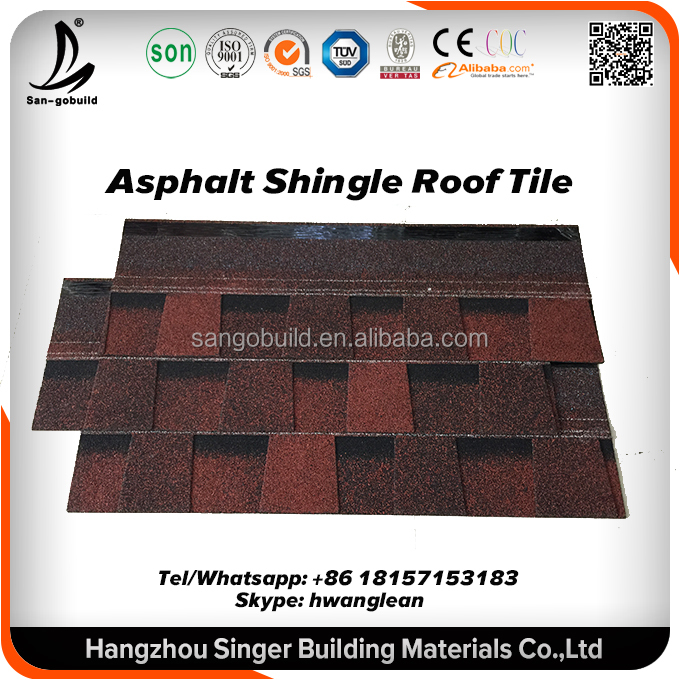 Cheap red asphalt shingles roofs for building material House plan house used