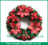 artificial red berries christmas wreath,artificial plastic red ribbon flowers wreath with red decorations, bowknot,ball,berry