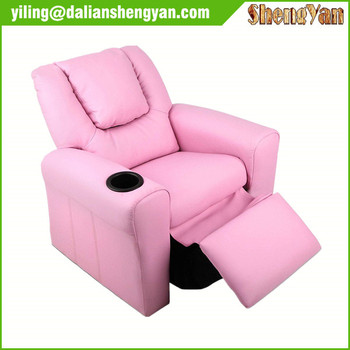 Kids Children Recliner Lounger Armchair Games Chair Sofa Seat PU Leather Look w/ Cup Holder (Pink)