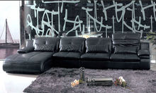 2013 Latest Post modern style high back Top Grain Leather Sofa furniture sofa set 607-13