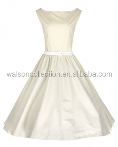 SEXY GIRL IMAGE Audrey Hepburn dress Ivory WITH BELT ROCKABILLY DRESS PINUP DRESS FOR WOMEN PLUS SIZE UK8-24