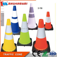 Customized roadwork multi-color reflective soft PVC 450mm warning traffic cone
