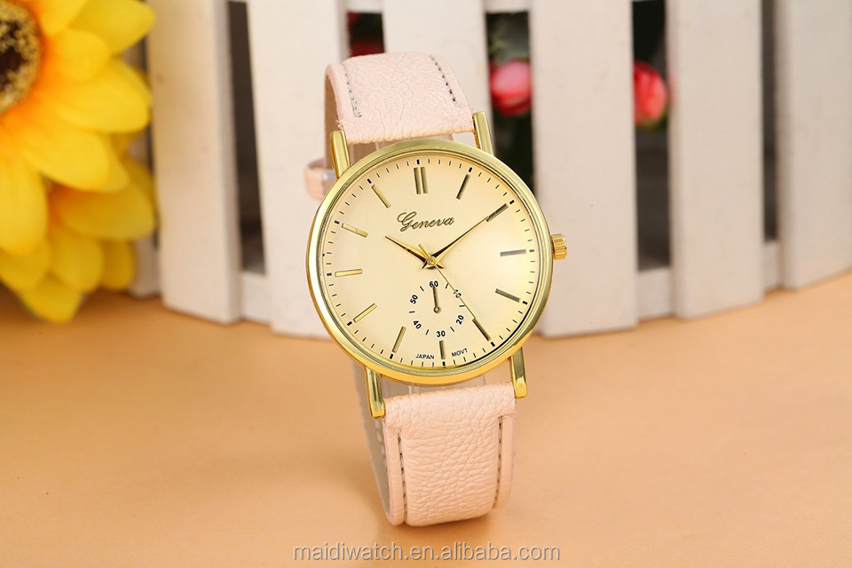 New Ladies Fashion Simple Leather Strap Women Geneva Watch Hot Relojes Quartz Women Dress Watch GW006