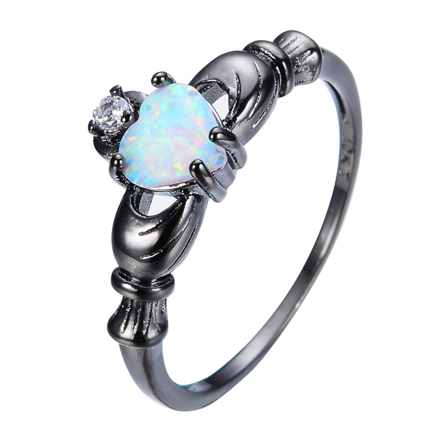 Elegant Heart Cut Rainbow Opal Claddagh Ring Fashion White CZ Wedding Jewelry Black Gold Filled Engagement Promise Rings RB0565