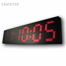 Red 6-digit 12V LED large outdoor digital clock
