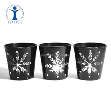 2017 new design snow pattern shaped electroplate black tealight candle glass