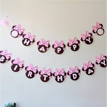 Mickey Mouse Minnie Happy Birthday Paper Garlands Bunting Mickey Minnie Head Letter Banner Flags kids birthday Party Favors