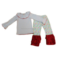 new fashion kids clothes blank top match polka dots ruffle pant winter Baby girls christmas clothing set