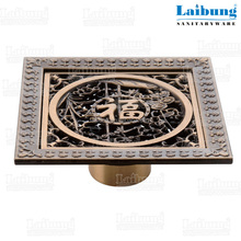 Square floor drainer black and gold bathroom accessories