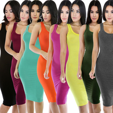 8 colors 2017 summer hot selling solid fashion bodycon cotton tank dress for women