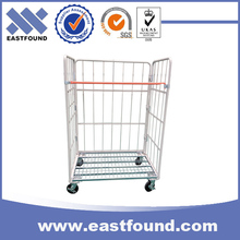 Foldable Galvanized Wire Mesh Storage Roll Containers Trolley Cart