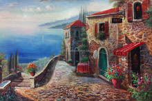 Dafen Oil Painting Village Big Wholesale Handmade Stone and Sea Oil Painting Mediterranean Canvas painting art