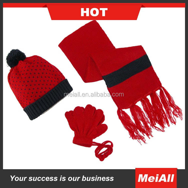 wholesale factory price knitting hat glove and scarf set