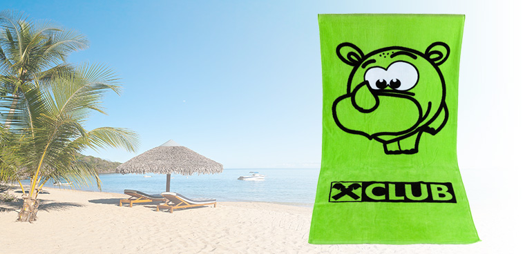 Textiles cotton fabrics aztec green towel with logo for beach