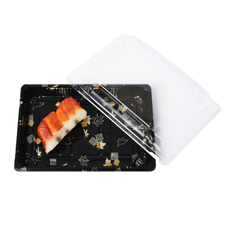 Plastic disposable take out sushi container with cover