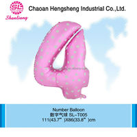 Decorated aluminium pink number balloon