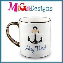 NEW Design Can Customise Mug Ceramic Cup Ocean Style Gold-Plated Ceramic Mug