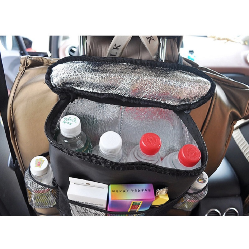 Low MOQ car back seat storage hanging bag organizer with cooler