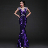 Women's New Purple V-Neck Solid Lace Floor-Length Evening Dress