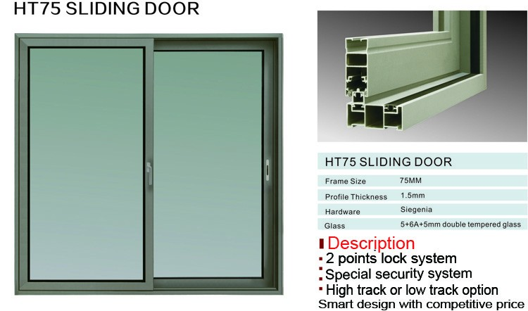 Factory cheap price HT75 series double glazed aluminium doors and windows