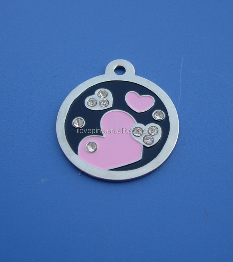 Stamping Round Shape Heart Dog Tag, Pet Id Tag Collar with Diamond