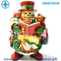 4 inch resin reading book snowman figure 2013 christmas gift