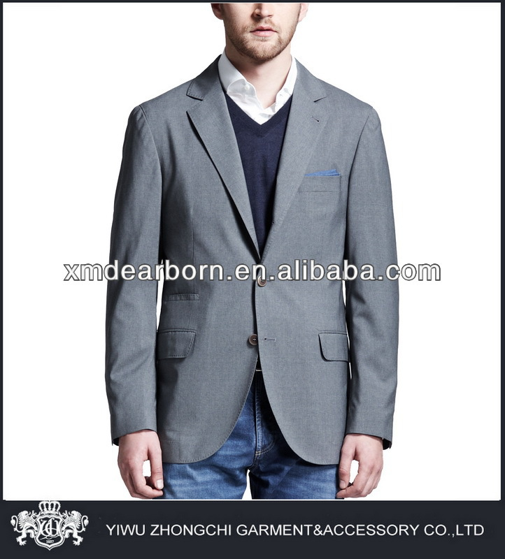 gray cotton suit jacket with jeans