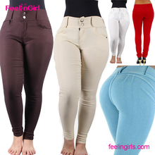 Wholesale brazilian women elastic fitness butt lift jeans