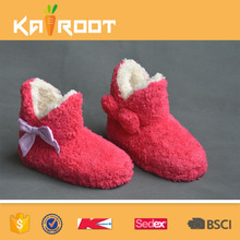 Custom Mute cute fluffy bow cotton slippers home cotton boots