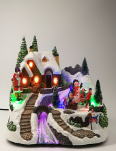 Christmas village on snow mountain Santa rotating LED craft