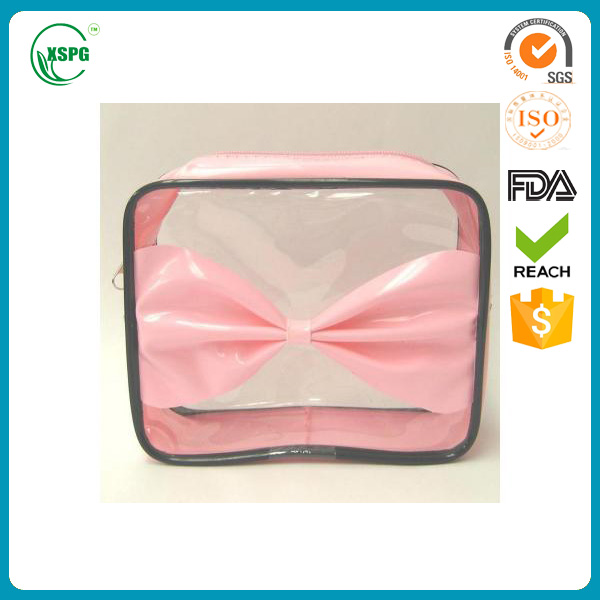 Clear platic vinyl pvc cosmetic zipper bag with bows