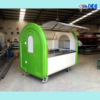 CP-A230165210 Promotional green and white food kiosk cart snack catering carts vegetable fruit booth customized