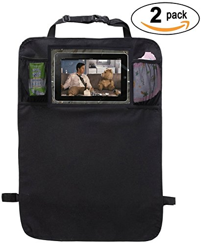 Kick Mats Back Seat Protector with Clear IPAD Holder and Mesh Pocket