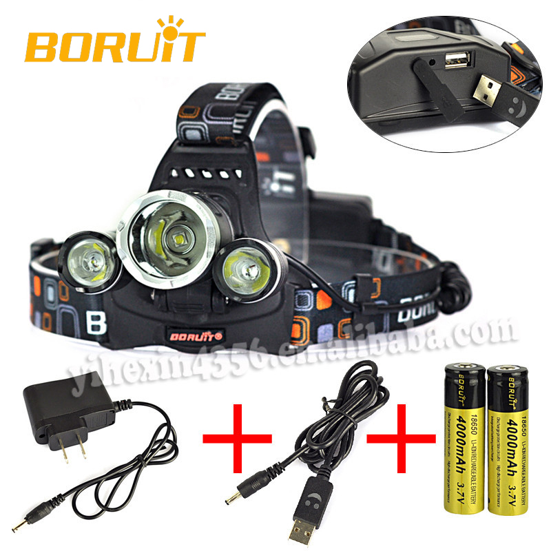 Factory Outlet Boruit 3pcs XML-L2 Outdoor LED Camping Head Lamp with USB Wall Charger RJ-5000