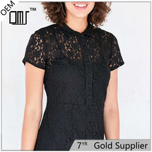 Hot Sexy Black Short Lace Skater Shirt Cocktail Tb Dress With Sleeves