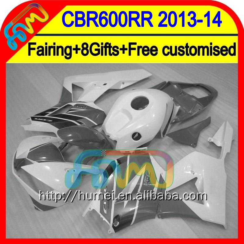 Grey white 8Gifts Injection For HONDA CBR600RR 13 14 28HM51 CBR 600RR 600 RR 2013 2014 CBR600 RR F5 13-14 Fairing Grey white