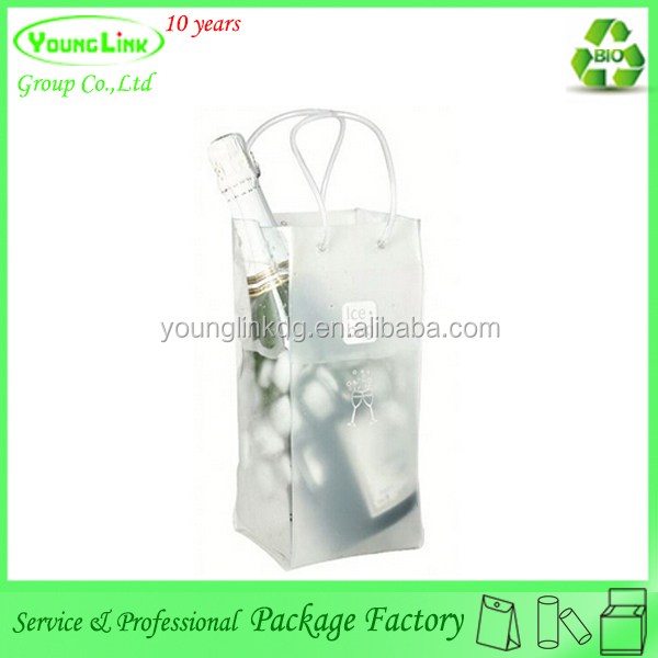 Fashion design plastic clear portable wine cooler bag