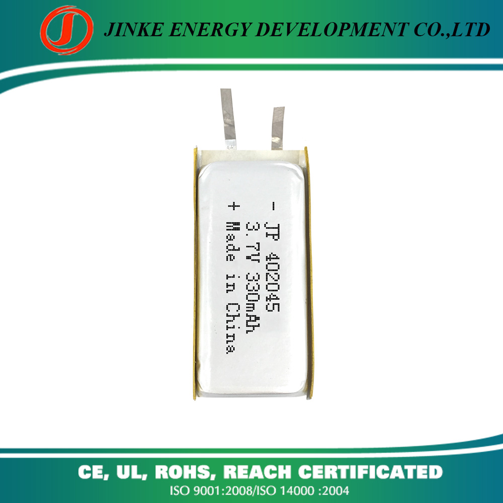 China manufacture 402045 3.7v 330mah li-ion rechargeable licoo2 battery with connector