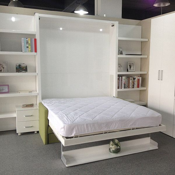 Space saving bed with storage cabinet multifunctional - Wall mounted pull down beds ...