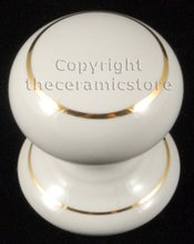 Ceramic Drawer Dresser Cupboard Door Knob White Goldline