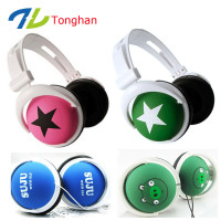 Hot selling cheap mp3 stereo custom headphones printed logo for promotion